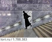 """Купить «Интерьер станции метро """"Достоевская"""" - лестница, перила и мужской силуэт, Москва», фото № 1788383, снято 20 июня 2010 г. (c) Fro / Фотобанк Лори"""