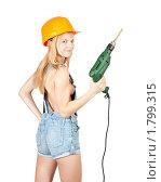 Купить «Девушка с дрелью», фото № 1799315, снято 9 июня 2010 г. (c) Яков Филимонов / Фотобанк Лори
