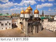 Купить «Успенский собор на Соборной площади Московского Кремля, Москва», фото № 1811959, снято 4 июля 2010 г. (c) Николай Винокуров / Фотобанк Лори