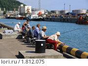 Купить «Рыбаки ловят рыбу на причале в морском порту», фото № 1812075, снято 17 июня 2009 г. (c) Евгений / Фотобанк Лори