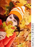 Купить «Улыбающаяся девушка лежит на опавших кленовых листьях», фото № 1814631, снято 12 октября 2009 г. (c) Gennadiy Poznyakov / Фотобанк Лори