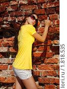 Девушка на фоне кирпичной стены. Стоковое фото, фотограф Андрей Цалко / Фотобанк Лори