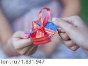 Купить «Мужчина дарит девушке кредитную карту», фото № 1831947, снято 5 июля 2010 г. (c) Михайлов Виталий / Фотобанк Лори