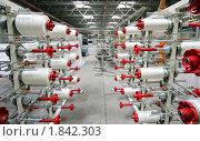 Купить «Катушки с нитями на текстильной фабрике», фото № 1842303, снято 1 марта 2005 г. (c) Vasily Smirnov / Фотобанк Лори