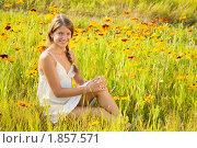 Купить «Девушка с косой на летнем лугу», фото № 1857571, снято 10 июля 2010 г. (c) Яков Филимонов / Фотобанк Лори