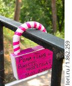 Купить «Розовый навесной замок на перилах моста», фото № 1862259, снято 24 июля 2010 г. (c) Юлия  Лесина / Фотобанк Лори