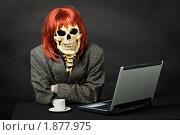Человек, одетый в костюм смерти, сидит за столом с ноутбуком. Стоковое фото, фотограф pzAxe / Фотобанк Лори