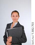 Купить «Девушка с папкой, удивление», фото № 1882703, снято 3 августа 2010 г. (c) Татьяна Юни / Фотобанк Лори