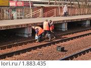 Ремонтные работы  на железнодорожных путях (РЖД) (2010 год). Редакционное фото, фотограф Алёшина Оксана / Фотобанк Лори