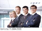 Купить «Команда бизнесменов в офисе», фото № 1884559, снято 17 июня 2010 г. (c) Raev Denis / Фотобанк Лори
