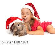 Купить «Маленькая девочка в новогоднем колпаке с кроликом», фото № 1887871, снято 4 августа 2010 г. (c) Юлия Машкова / Фотобанк Лори