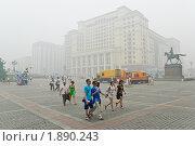Люди на Манежной  площади. Смог, дым (2010 год). Редакционное фото, фотограф Алёшина Оксана / Фотобанк Лори