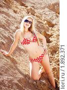 Купить «Блондинка в бикини на песчаном карьере», фото № 1892371, снято 23 марта 2018 г. (c) Юлия Колтырина / Фотобанк Лори