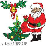 Купить «Дед Мороз, елка и колокольчик», иллюстрация № 1893319 (c) Татьяна Смирнова / Фотобанк Лори