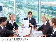 Купить «Бизнесмены в офисе», фото № 1893747, снято 17 июня 2010 г. (c) Raev Denis / Фотобанк Лори