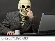 Купить «Скелет ковыряет пальцем в носу сидя перед компьютером», фото № 1895683, снято 28 февраля 2010 г. (c) pzAxe / Фотобанк Лори