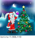 Купить «Белый кролик украшает елку игрушками», иллюстрация № 1906119 (c) Алексей Григорьев / Фотобанк Лори