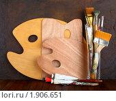 Купить «Палитра художника и кисти с краской», фото № 1906651, снято 29 июля 2010 г. (c) Сергей Белов / Фотобанк Лори
