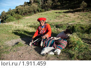 Купить «Перуанская горная жительница», фото № 1911459, снято 2 июня 2010 г. (c) Анастасия Лукьянова / Фотобанк Лори