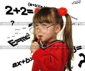 Купить «Девочка и научные формулы», фото № 1913991, снято 14 февраля 2010 г. (c) Сергей Галушко / Фотобанк Лори