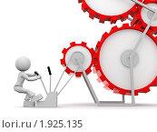 Человек управляет механизмом. Стоковая иллюстрация, иллюстратор Алексей / Фотобанк Лори