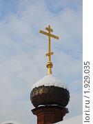 Православный крест на деревянном куполе (2010 год). Стоковое фото, фотограф Евгения Плешакова / Фотобанк Лори