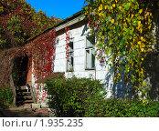 Купить «Сельский домик, увитый красным виноградом», фото № 1935235, снято 10 октября 2009 г. (c) Надежда Келембет / Фотобанк Лори
