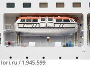 """Купить «Спасательный бот лайнера  """"Silver Whisper""""», эксклюзивное фото № 1945599, снято 11 августа 2010 г. (c) Александр Щепин / Фотобанк Лори"""