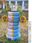 Купить «Цветочная клумба из шин», фото № 1946011, снято 7 октября 2009 г. (c) Голованов Сергей / Фотобанк Лори