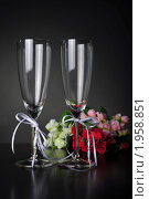 Купить «Бокалы свадебные», фото № 1958851, снято 31 августа 2010 г. (c) Оксана Белая / Фотобанк Лори
