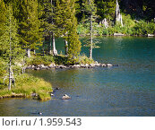 Купить «Алтай. Озеро у подножия горы Красная», фото № 1959543, снято 19 августа 2010 г. (c) Andrey M / Фотобанк Лори