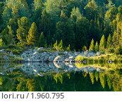 Купить «Алтай. Озеро у подножия горы Красная», фото № 1960795, снято 18 августа 2010 г. (c) Andrey M / Фотобанк Лори