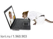 Эмоциональное общение по интернету в рабочее время. Стоковое фото, фотограф Ирина Кожемякина / Фотобанк Лори
