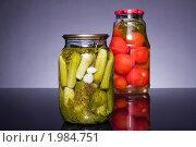 Купить «Овощи (томаты, огурцы) зарисовка консервы», фото № 1984751, снято 27 августа 2010 г. (c) Денис Миронов / Фотобанк Лори