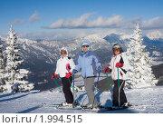 Горнолыжницы на фоне гор (2010 год). Редакционное фото, фотограф Николай Коржов / Фотобанк Лори
