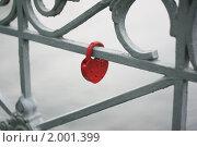 Купить «Свадебная традиция - красный замок на ограде моста», фото № 2001399, снято 27 июля 2010 г. (c) Erudit / Фотобанк Лори