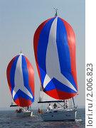 Купить «Два одинаковых паруса, спинакера», эксклюзивное фото № 2006823, снято 25 сентября 2010 г. (c) Svet / Фотобанк Лори