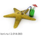 Купить «Морская звезда пьет коктейль из трубочки», иллюстрация № 2014083 (c) Zelfit / Фотобанк Лори