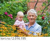 Купить «Дедушка с внуком саду», фото № 2016195, снято 24 июля 2010 г. (c) LenaLeonovich / Фотобанк Лори