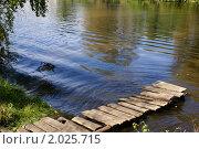 Деревянный мостик на берегу реки. Стоковое фото, фотограф Александр Фёдоров / Фотобанк Лори