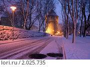 Первый снег в городе. Стоковое фото, фотограф Максим Блинов / Фотобанк Лори