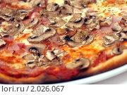 Купить «Итальянская пицца с ветчиной и грибами», фото № 2026067, снято 1 июля 2010 г. (c) Никита Жигелев / Фотобанк Лори