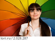 Купить «Молодая красивая брюнетка под ярким зонтом», фото № 2028287, снято 24 ноября 2009 г. (c) Losevsky Pavel / Фотобанк Лори
