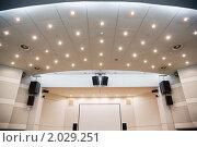 Купить «Видеоэкран и аудиосистема для просмотра презентаций», фото № 2029251, снято 10 декабря 2009 г. (c) Losevsky Pavel / Фотобанк Лори