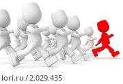 Красный человек впереди толпы. Стоковая иллюстрация, иллюстратор Алексей / Фотобанк Лори