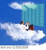 Купить «Бизнесмен на облаке с ноутбуком», фото № 2033039, снято 11 марта 2019 г. (c) Сергей Гавриличев / Фотобанк Лори