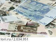 Купить «Обмен валюты. Евро на фоне рублей.», фото № 2034951, снято 9 октября 2010 г. (c) Самофалов Владимир Иванович / Фотобанк Лори