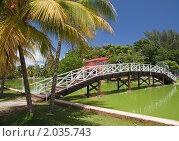 Пешеходный мост через пруд в парке Хесоне, Куба (2010 год). Стоковое фото, фотограф Сергей Плахотин / Фотобанк Лори