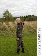 Купить «Девушка в камуфляже с охотничьим ружьем», фото № 2040199, снято 17 сентября 2010 г. (c) Андрей Некрасов / Фотобанк Лори