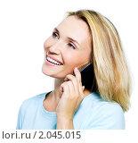 Купить «Улыбающаяся девушка с мобильным телефоном», фото № 2045015, снято 23 августа 2010 г. (c) Валуа Виталий / Фотобанк Лори